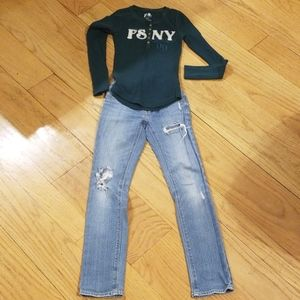 Levi's girls jean's with P.S aeropostale top